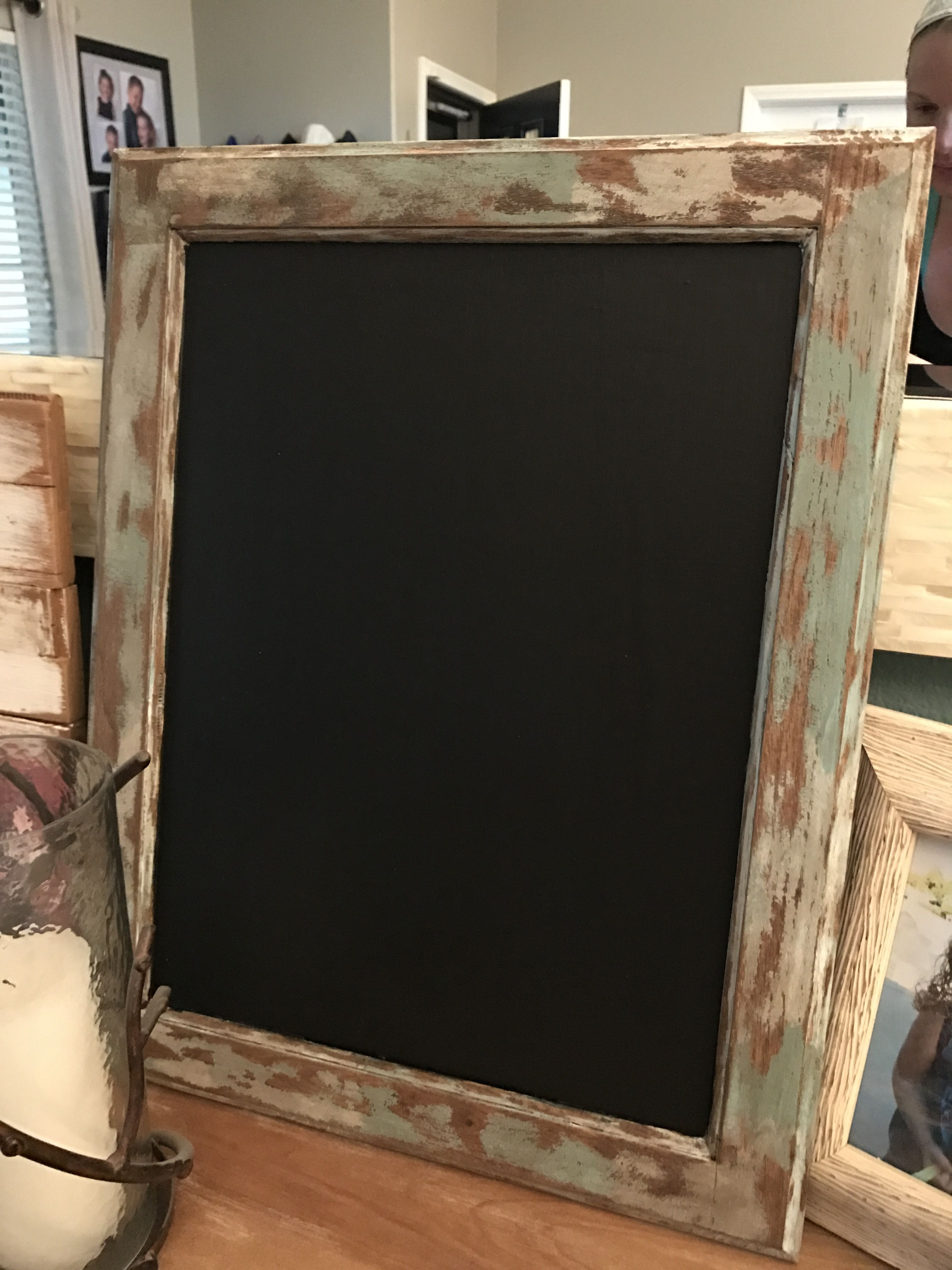 Cabinet door face turned chalkboard with rustic old barn wood frame ...