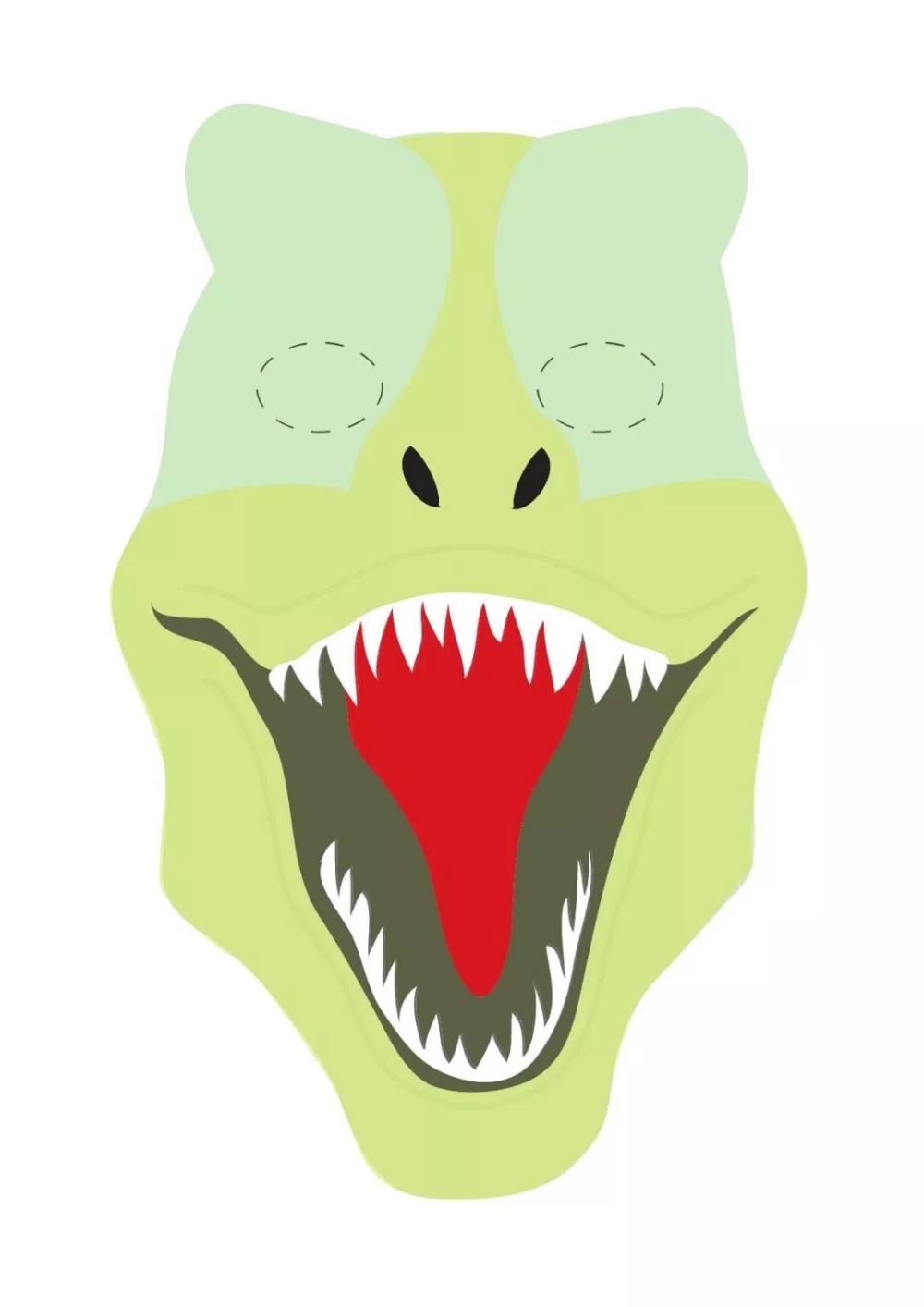 Materialy Tematyczne Do Druku Dzien Dinozaura Kolorowe Maski Na Twarz Dinosaur Mask Mask Template Dinosaur Themed Birthday Party