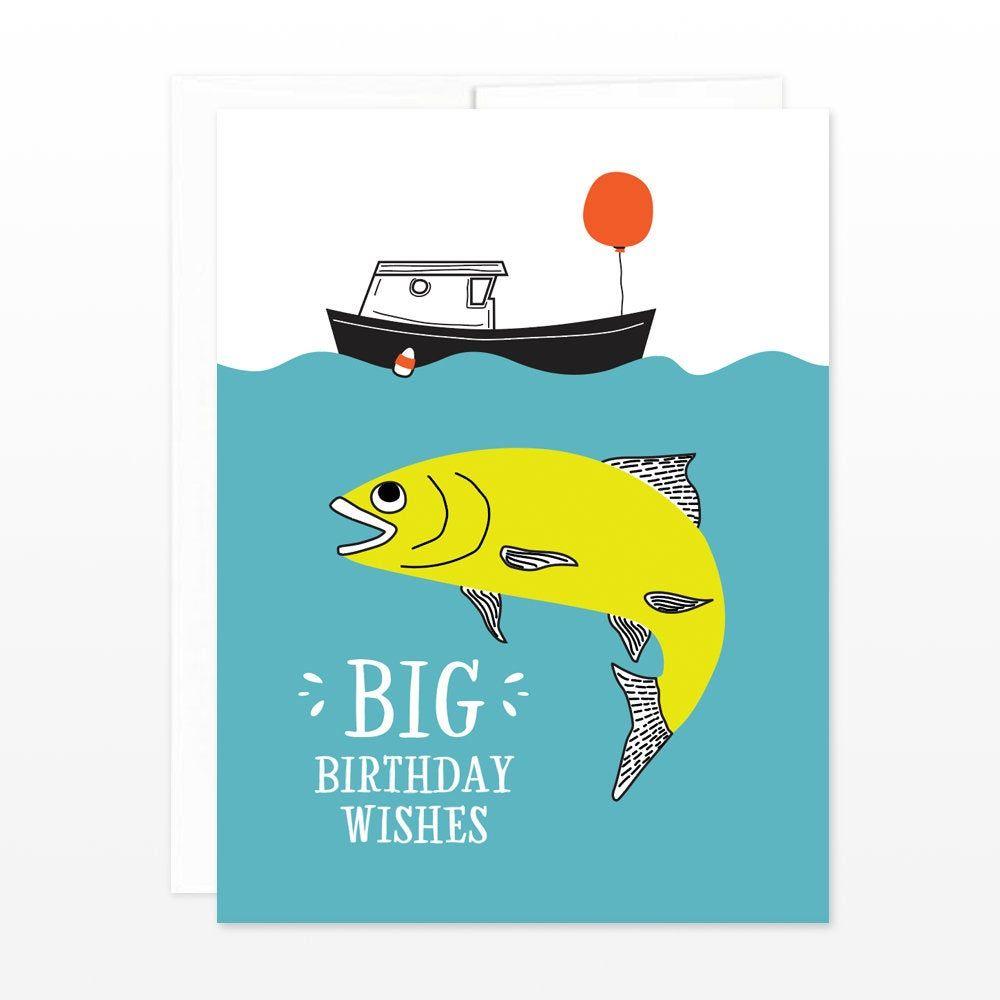 Big Fish Birthday Card Funny Fishing Boat Birthday Card Etsy Funny Birthday Cards Fishing Birthday Cards Birthday Cards