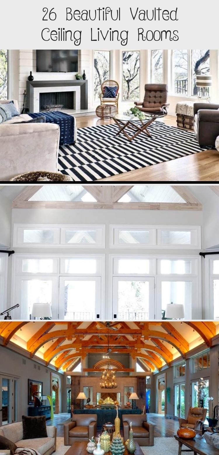 26 Beautiful Vaulted Ceiling Living Rooms #vaultedceilingdecor