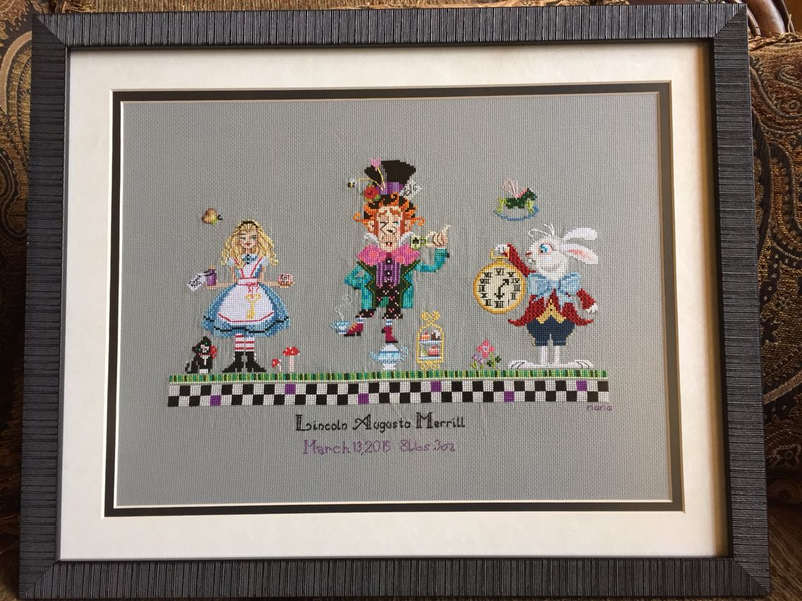 Alice in Wonderland w// Mushrooms DIGITAL Counted Cross-Stitch Pattern Chart
