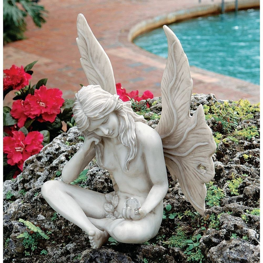 FAIRY GARDEN STATUE Sculpture Ornament Lawn Pond Patio Outdoor ... FAIRY  GARDEN STATUE Sculpture Ornament Lawn Pond Patio Outdoor