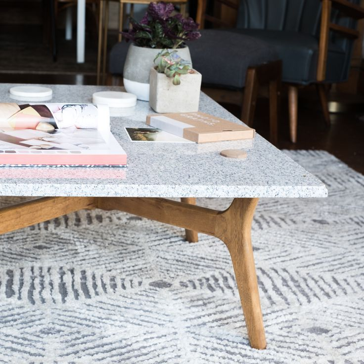DIY Stone Top Coffee Table