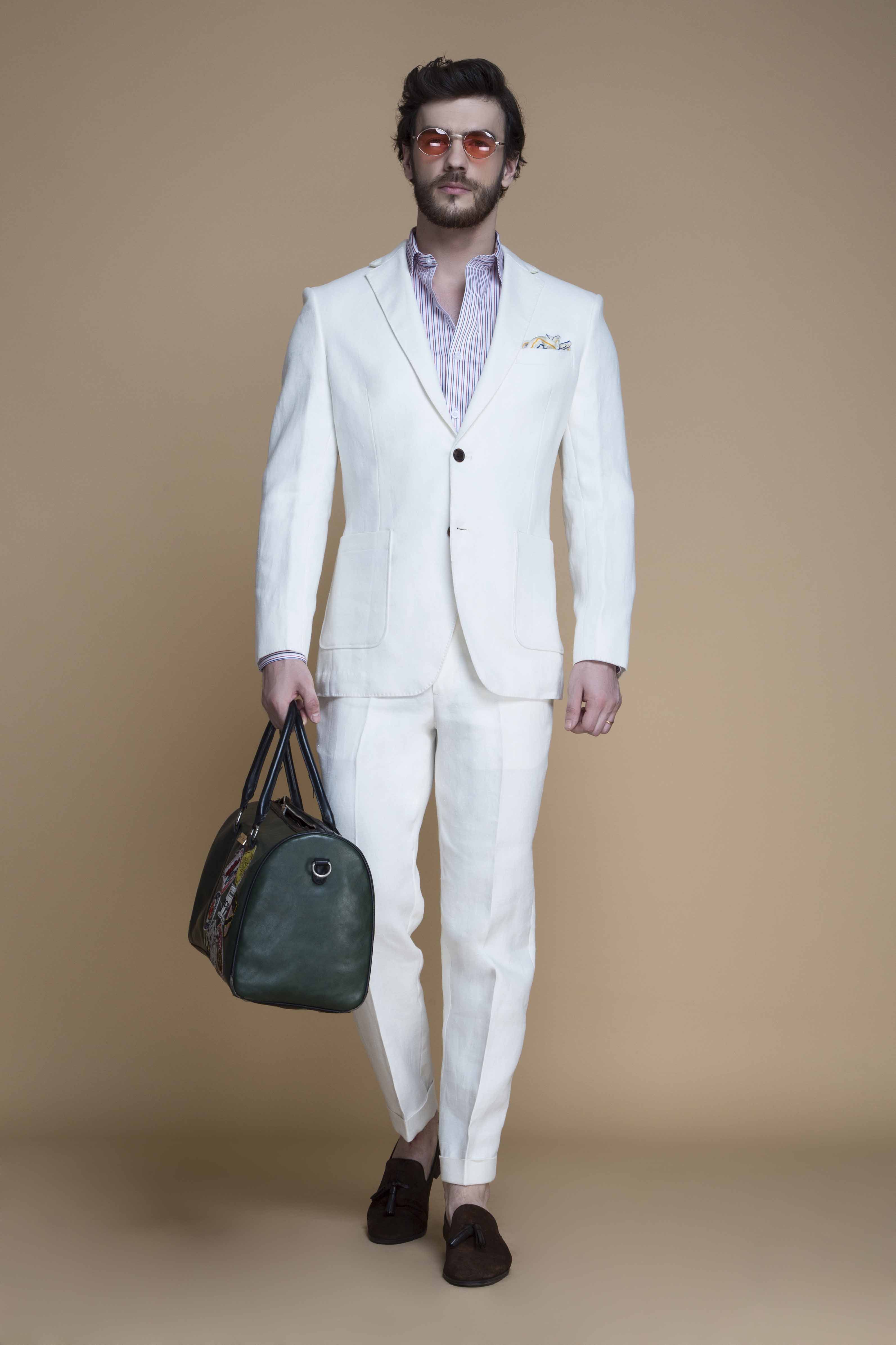 Cardiff Off White Linen Suit Custom Made By A I Hangrr