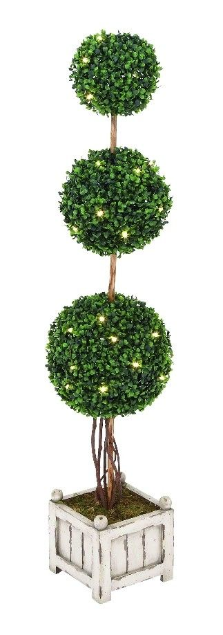 Green Triple Topiary Tree LED Lights White Wood Planter Patio Decor| lamp | lighting, furniture | accents, home decor | accessories, wall decor,patio | garden, Rugs, seaconal decor, pet supplies,garden decor