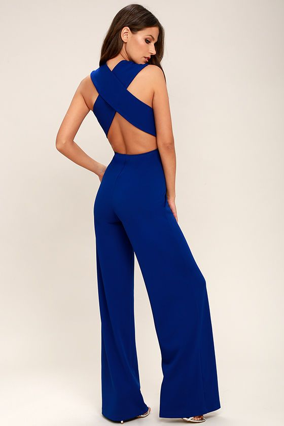 d9f388223d22 Lulus Exclusive! Your admirers will have a lot to say about their love for  you in the Thinking Out Loud Royal Blue Backless Jumpsuit!