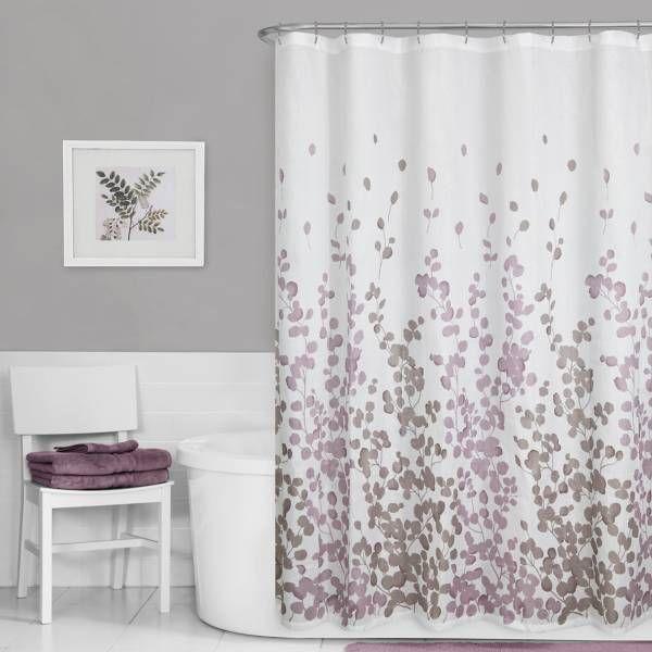Maytex Leaf Print Fabric Shower Curtain In Purple Purple Shower