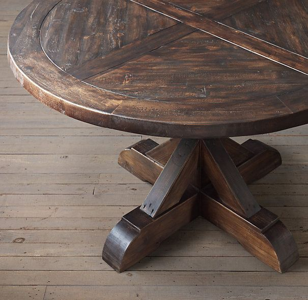 Salvaged Wood X Base Round Dining Table Kitchen Table Wood