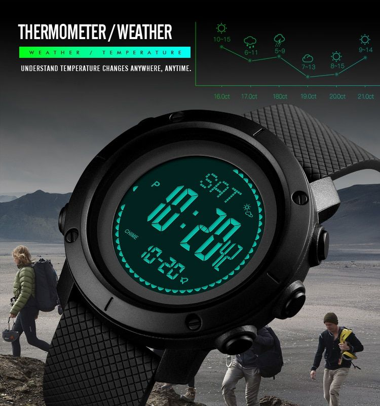 Waterproof Digital Watch Men Hiking Wristwatches Skmei Outdoor Sports Watches Fashion Compass Altimeter Barometer Thermometer Watches Men's Watches