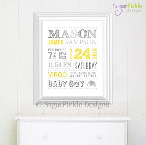 Personalized Nursery Decor Wall Art Birth Announcement - Baby - birth chart template
