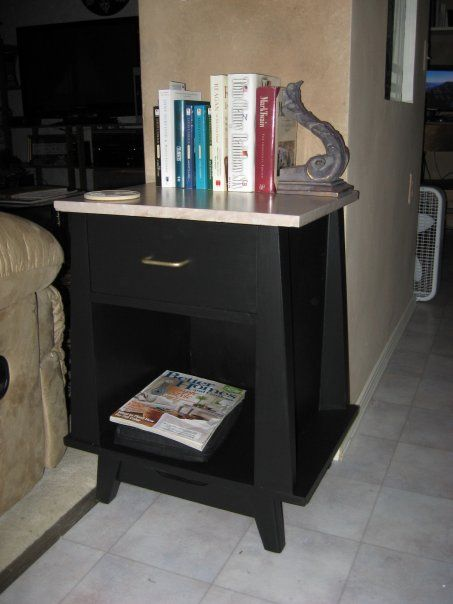 After pic!  This end table was a second had pick up that I painted.  The top is not stone.  It just looks like it, because I painted it.  That was 5-6 years ago.  Still looks great.
