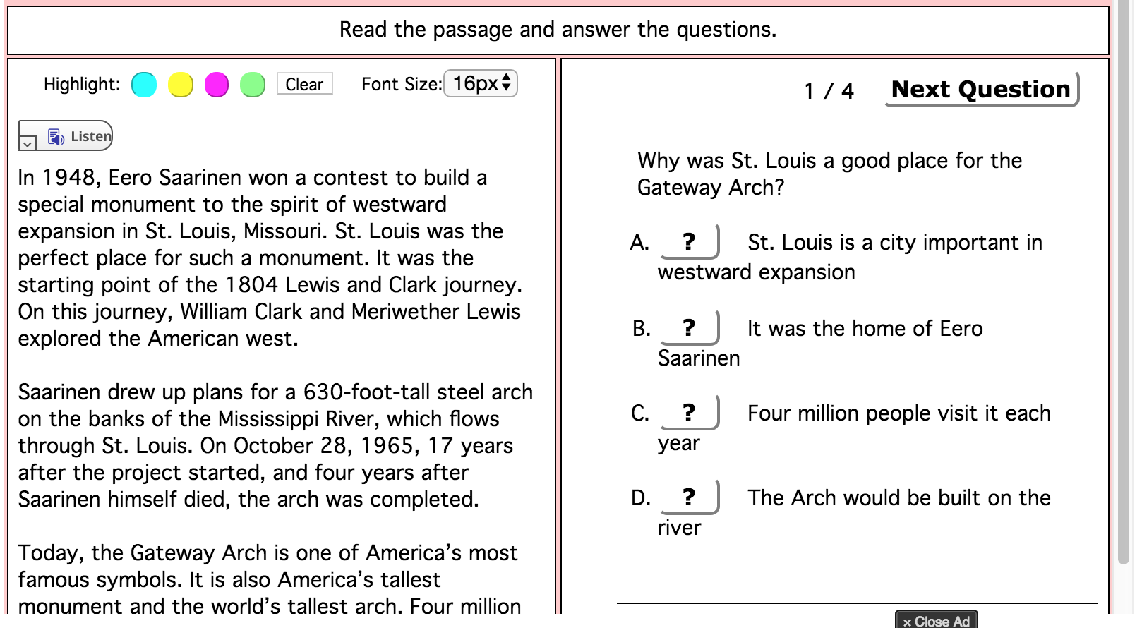 This Is An Online Reading Comprehension And Question Set