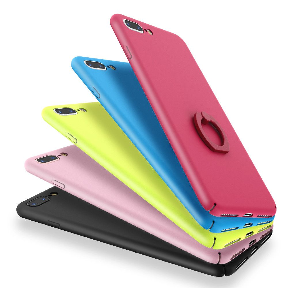 Smooth Touch Oil Skin Ring Holder Phone Case For iPhone 7 4.7 For ...