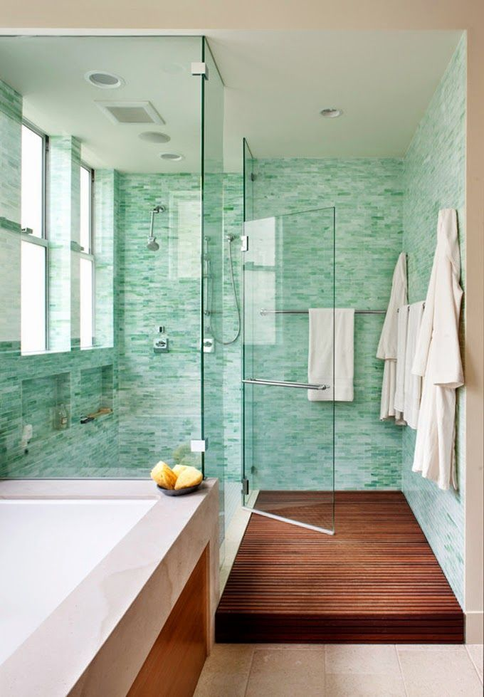 Turquoise Spa Inspired Bathroom I Love The Tile Color, The Opaque Windows  In The Shower And The Wood Walkway.