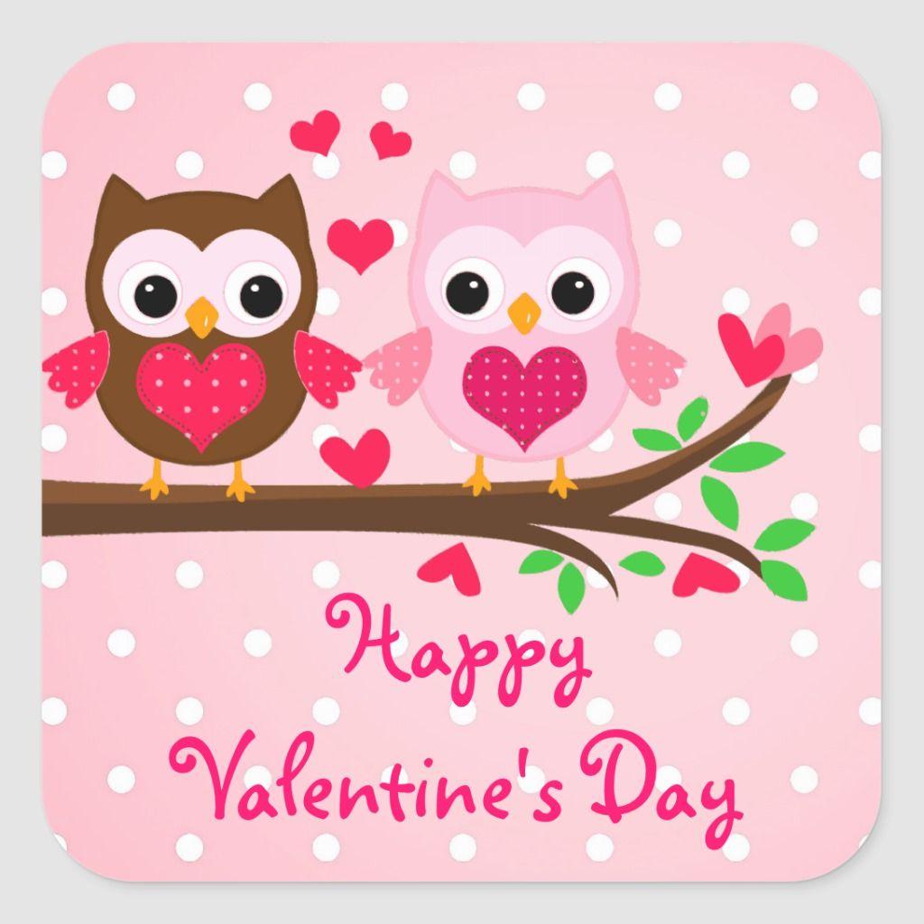 Cute Owl Couple I Love You Happy Valentine S Day Square Sticker Zazzle Com Valentines Wallpaper Valentines Day Clipart Valentine Cartoon