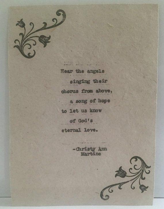 Angel Art - Hear the Angels Singing Pretty Vintage Typed Poem ...
