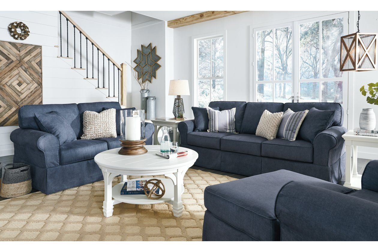 Alano Ottoman Ashley Furniture Homestore Blue Couch Living Room Living Room Throws Navy Sofa Living Room