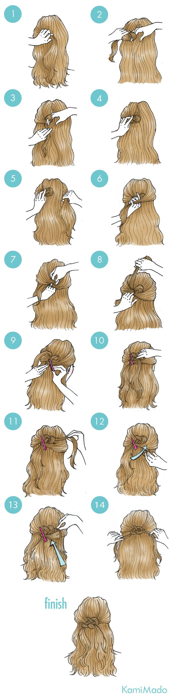 KamiMado Dozens of Japanese hair tutorials with step,by