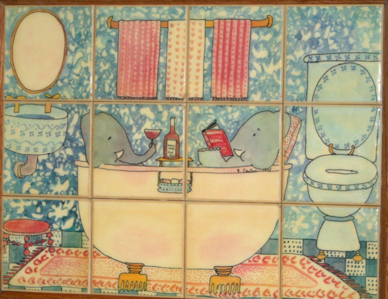 Susan Gantner Bathing Elephants Porcelain Tiled Wall Art by ...