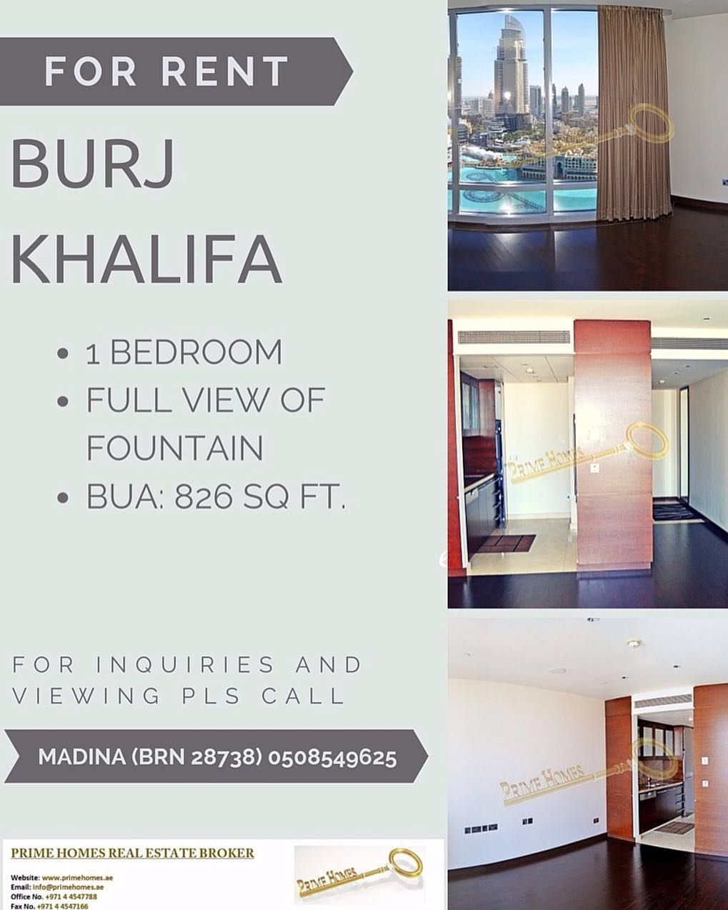 For Rent: 1BR #apartment in Burj Khalifa with full fountain view only for AED 160000 ($43835) per year. Call now to arrange the viewing to Madina (BRN 28738) on 971 (0)50 8549625 or email on madina@primehomes.ae. #mydowntowndubai #burjkhalifa #forrent #apartments #mydubai #realestatedubai #realestate originally shared on Instagram via ArabianEscapes.com by prime_homes_dubai #Apartments #Villas #Properties #Property #ArabianEscapes #DubaiProperties #RealEstateDubai #Dubai #UAE #AbuDhabi…