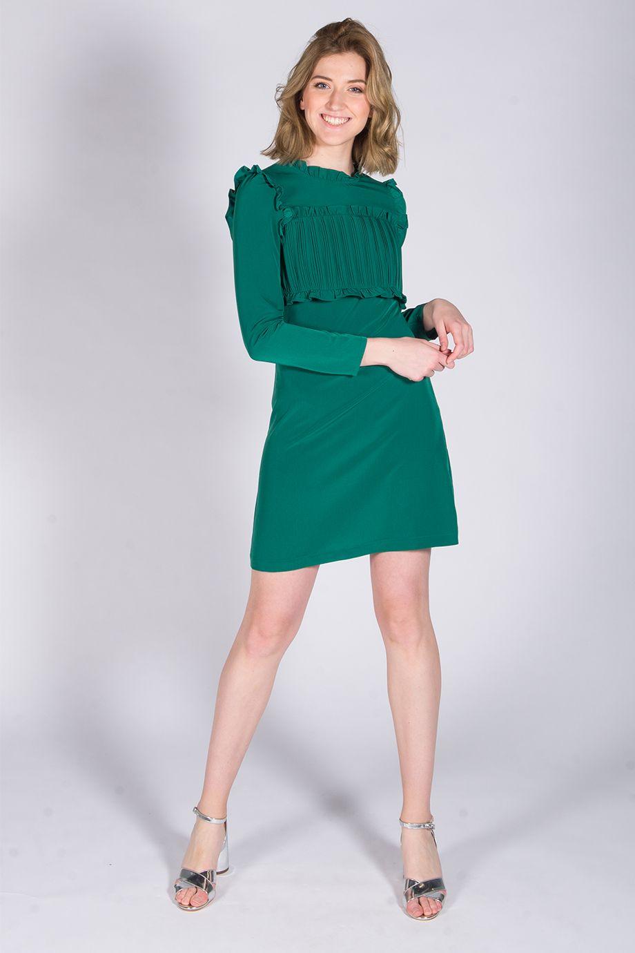 Robe verte buste plissé ROUMBA Maje manches longues à louer