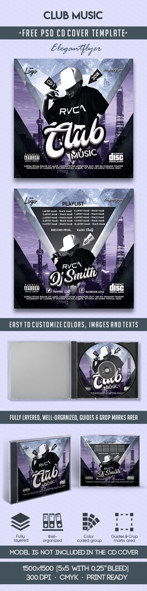 club music free cd cover psd template free cd dvd cover