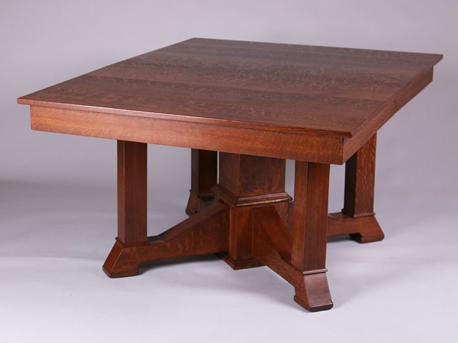 California Historical DesignPrairie School Dining Table With 7 Leaves C1910