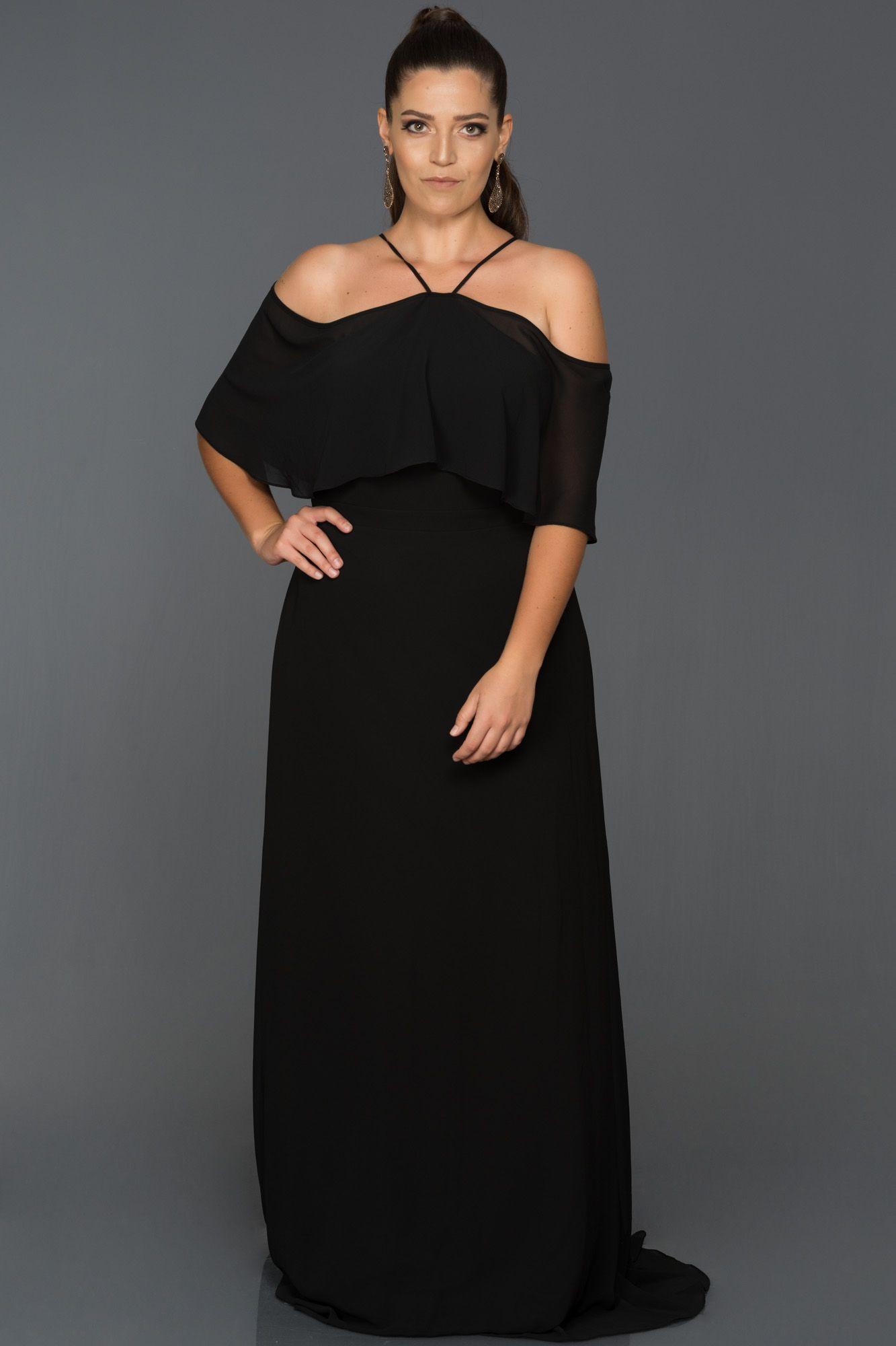 Siyah Sifon Buyuk Beden Abiye Elbise Abu470 Elbise Elbise Modelleri The Dress