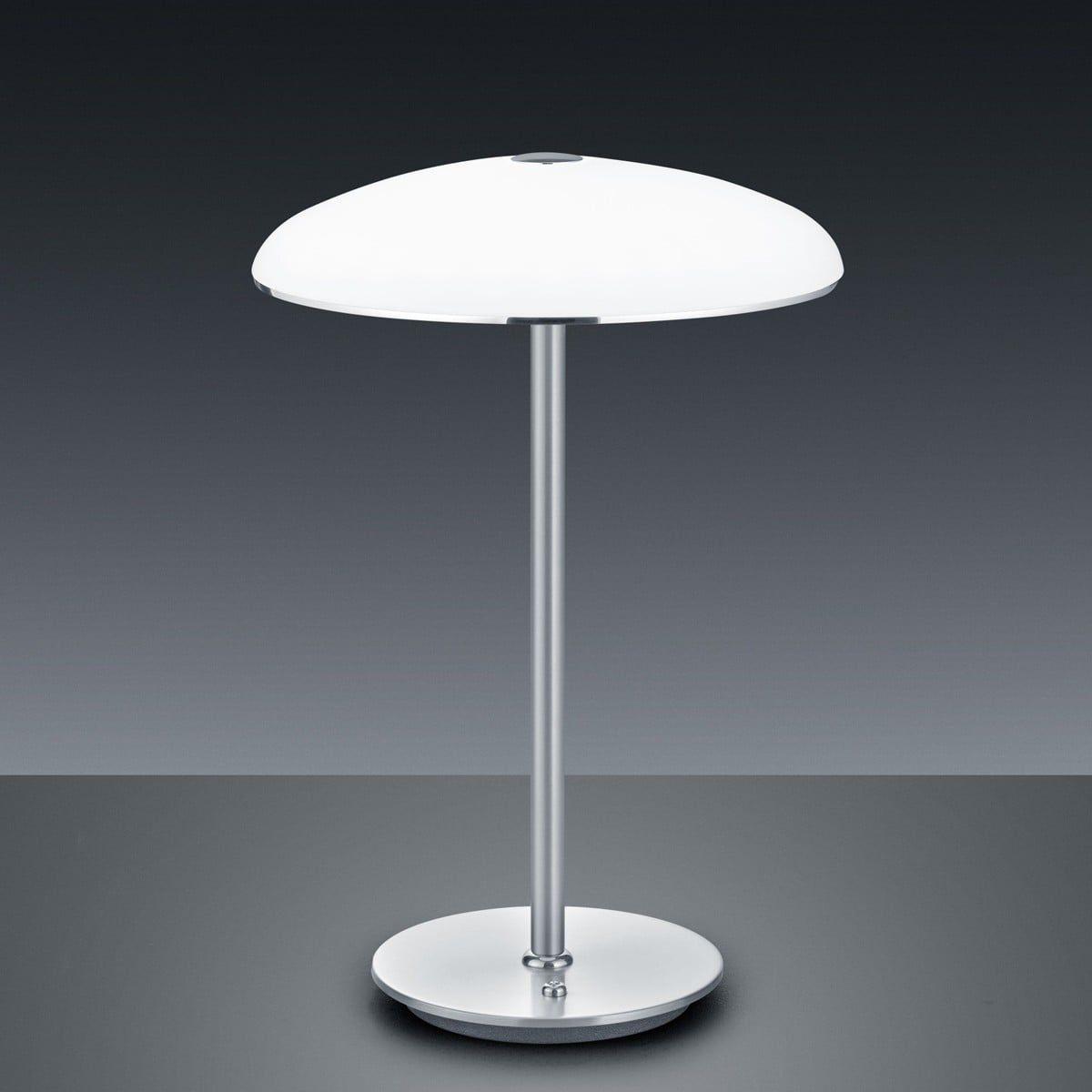 Nachttischlampe Design weiß silber antik Tischlampe mit LED /& Glasschirm oval