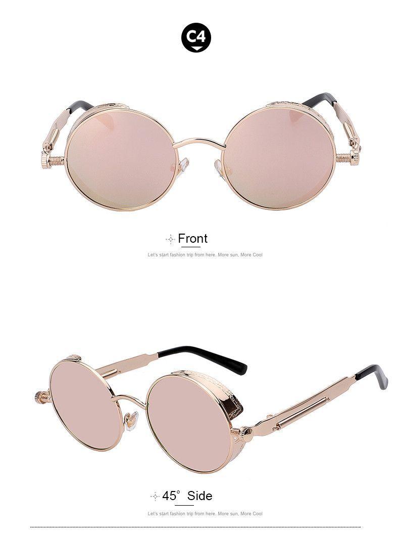 Round Metal Sunglasses Steampunk Men Women Fashion Glasses