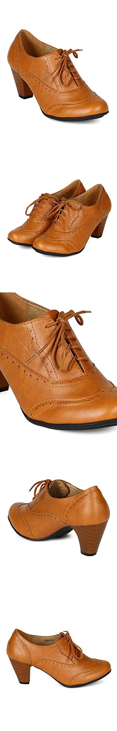 90b839f10440 Refresh BH50 Women Leatherette Lace Up Oxford Chunky Heel Bootie - Tan  (Size  10