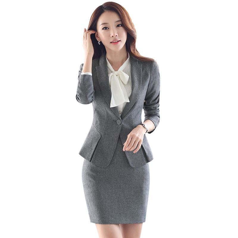 Women Gray Blazer Set Two pieces Suits Spring Autumn Ladies Formal ...