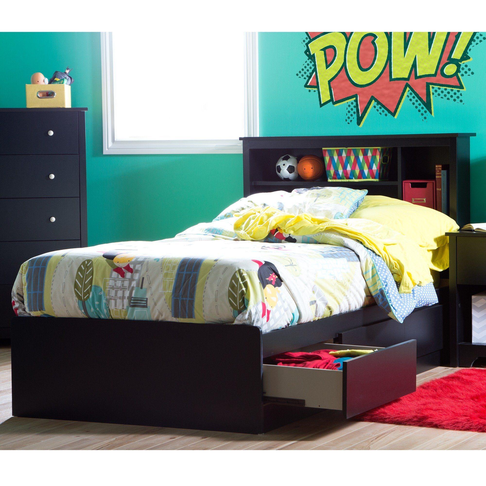 Black Twin Mates Storage Bed Bookcase Headboard Vito Twin
