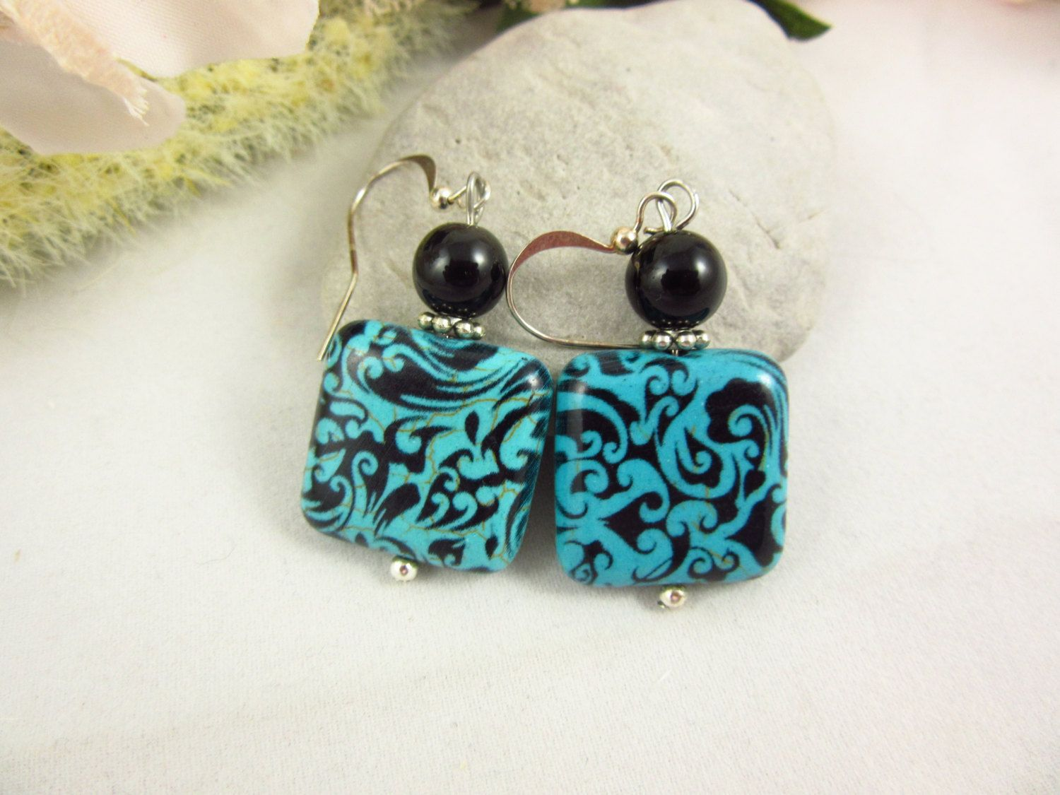 Ceramic Dangle Earrings Turquoise and Black Earrings Handmade Dangle Earrings by PMOriginals on Etsy