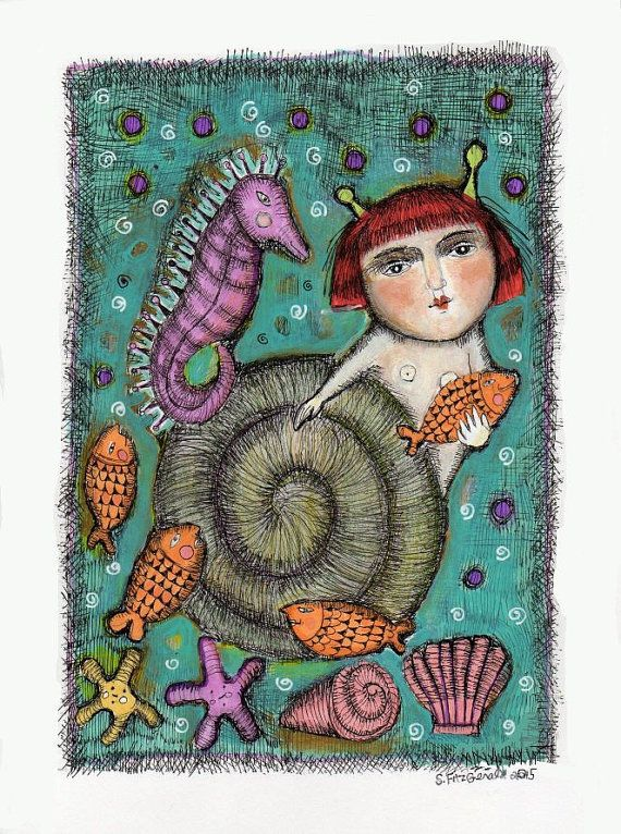 Mixed Media Snail Girl Ocean Sea Horse Fish By Kittyjujube On Etsy