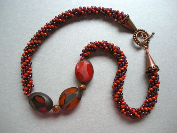 SAVE 20% on any orders over $20. Use coupon code OVER20SAVE20 @ checkout. Good till Dec. 16th.   Faceted Carnelian and Seed Beads  Woven Bead by FamilyJules, $48.00