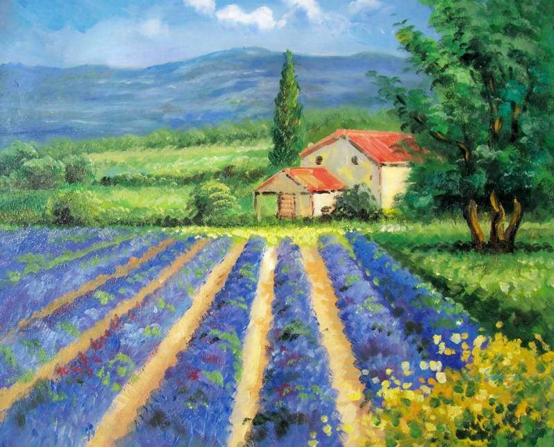4587ab4faaa FIELDS OF TUSCANY ITALY LANDSCAPE OIL PAINTING