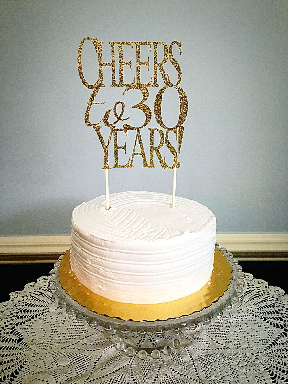 Cheers To 30 Years Glitter Cake Topper Birthday Cake Topper