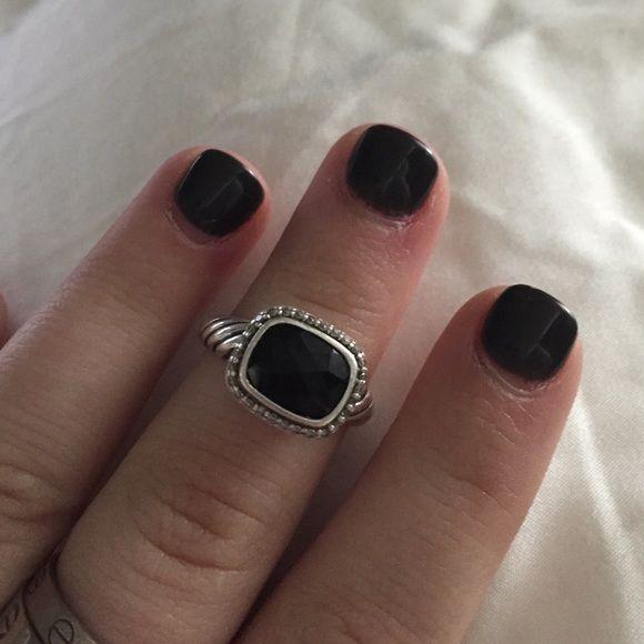 Black David Yurman ring with diamonds Noblesse Black onyx David Yurman ring with diamonds David Yurman Jewelry Rings