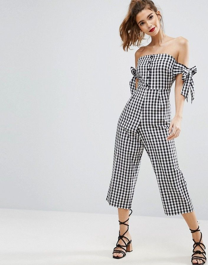 Asos Off Shoulder Jumpsuit With Tie Sleeve In Gingham