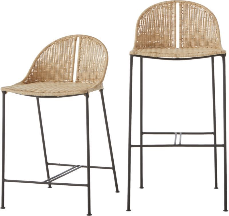 Cb2 January Catalog 2020 Cesta 24 Rattan Counter Stool Rattan Counter Stools Rattan Bar Stools Wicker Bar Stools