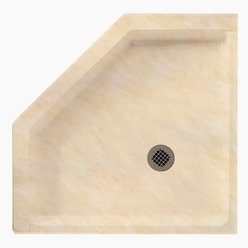 Swan Solid Surface 38 In X 38 In Neo Angle Shower Base With Center