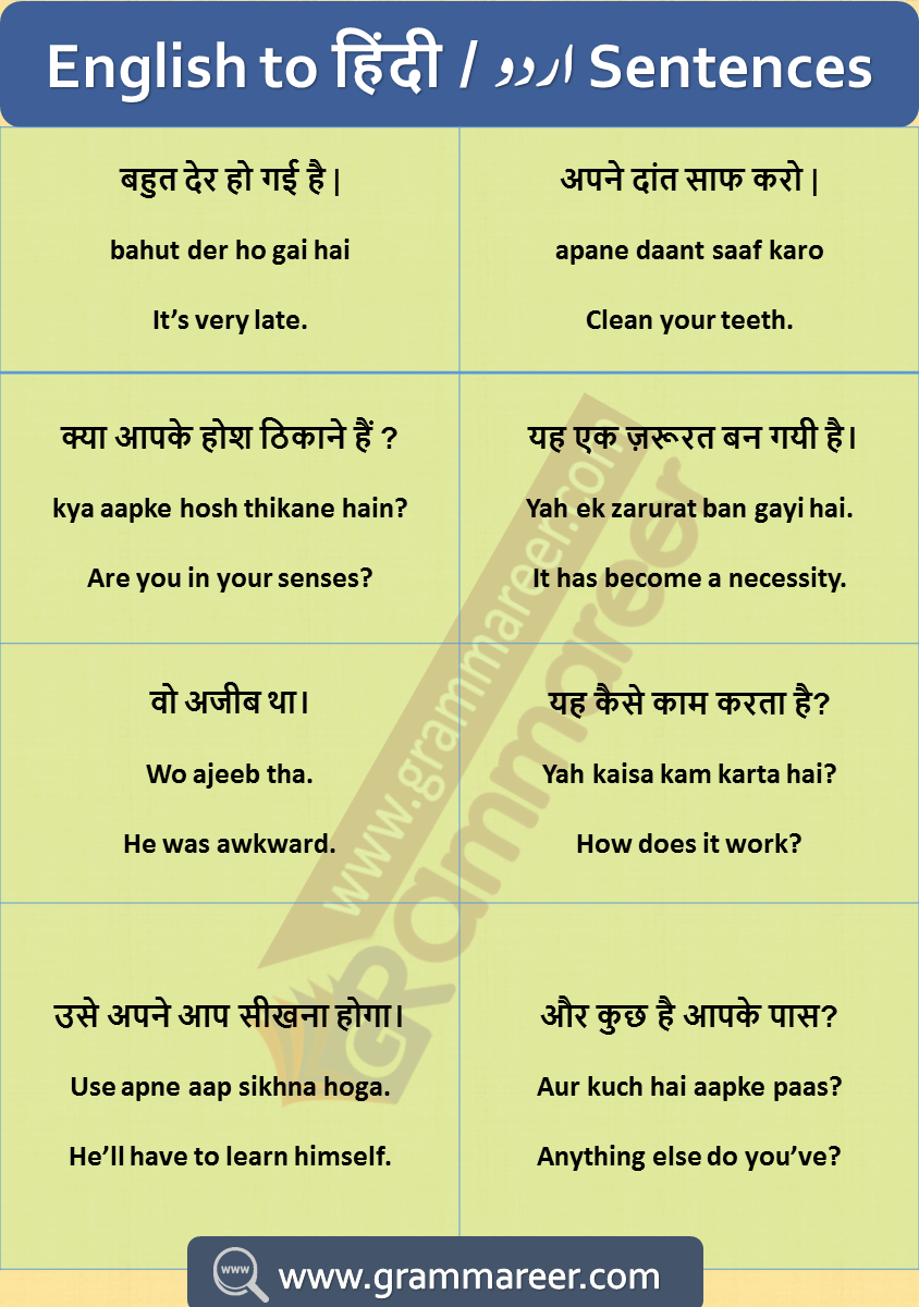 English Sentences With Hindi Translation Daily Used In 2020