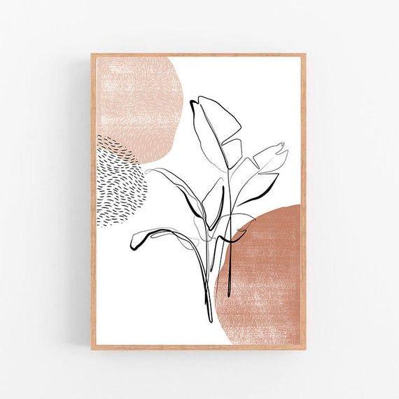 Photo of Botanical printable wall art Neutral beige print Line art wall decor Modern minimalist wall art Natu