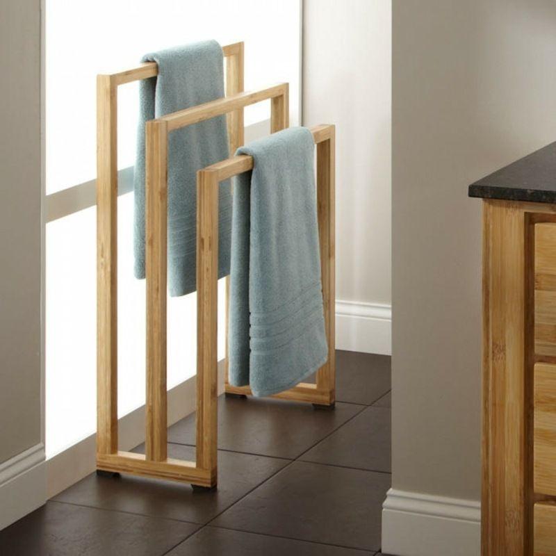 Porte-serviette Bambou à 3 Barres à Poser Au Sol