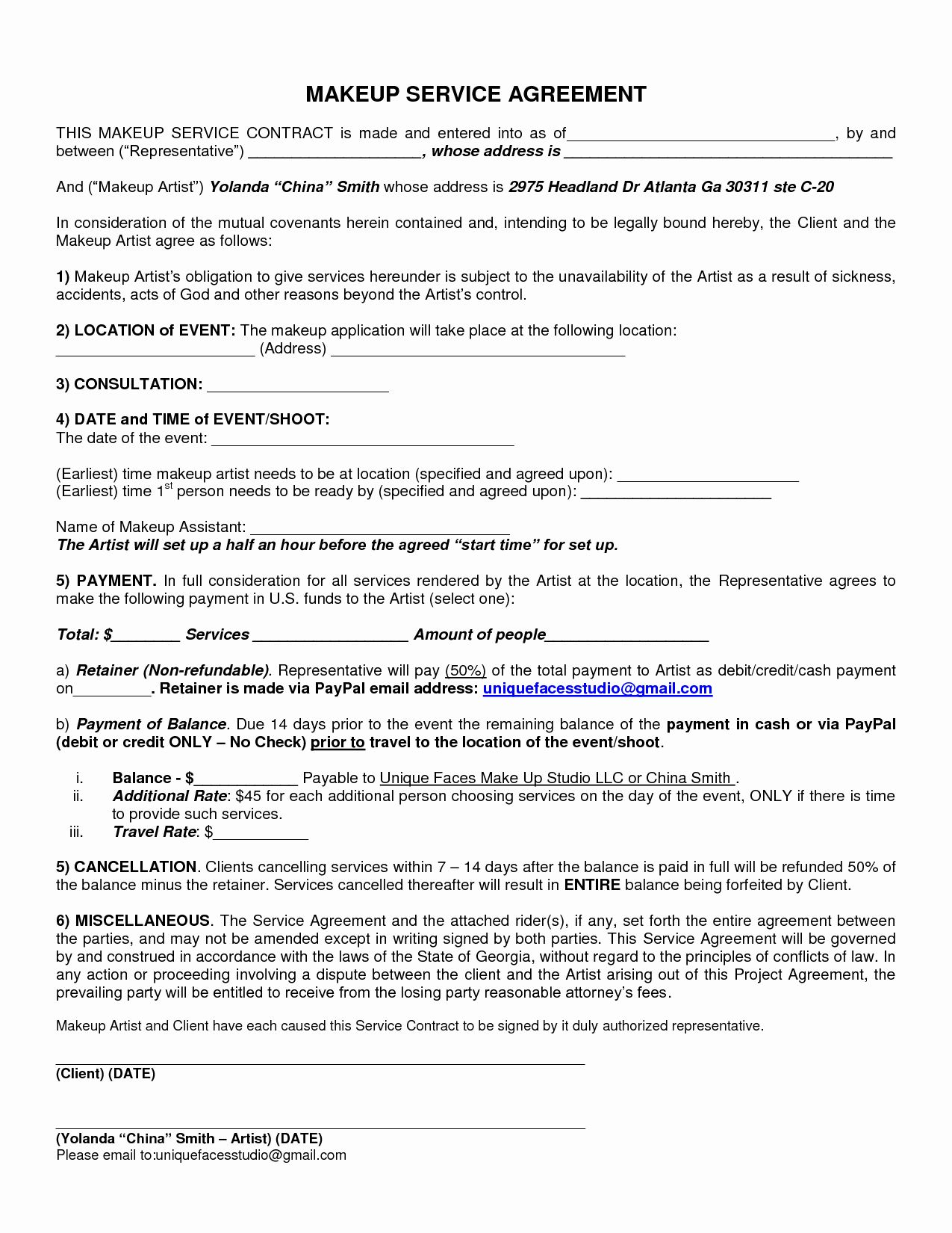Bridal Makeup Contract Template in 2020 Contract