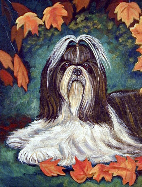 Autumn Leaves Shih Tzu 2 Sided Polyester 40 X 28 In House Flag Painting Autumn Leaves Painting Prints