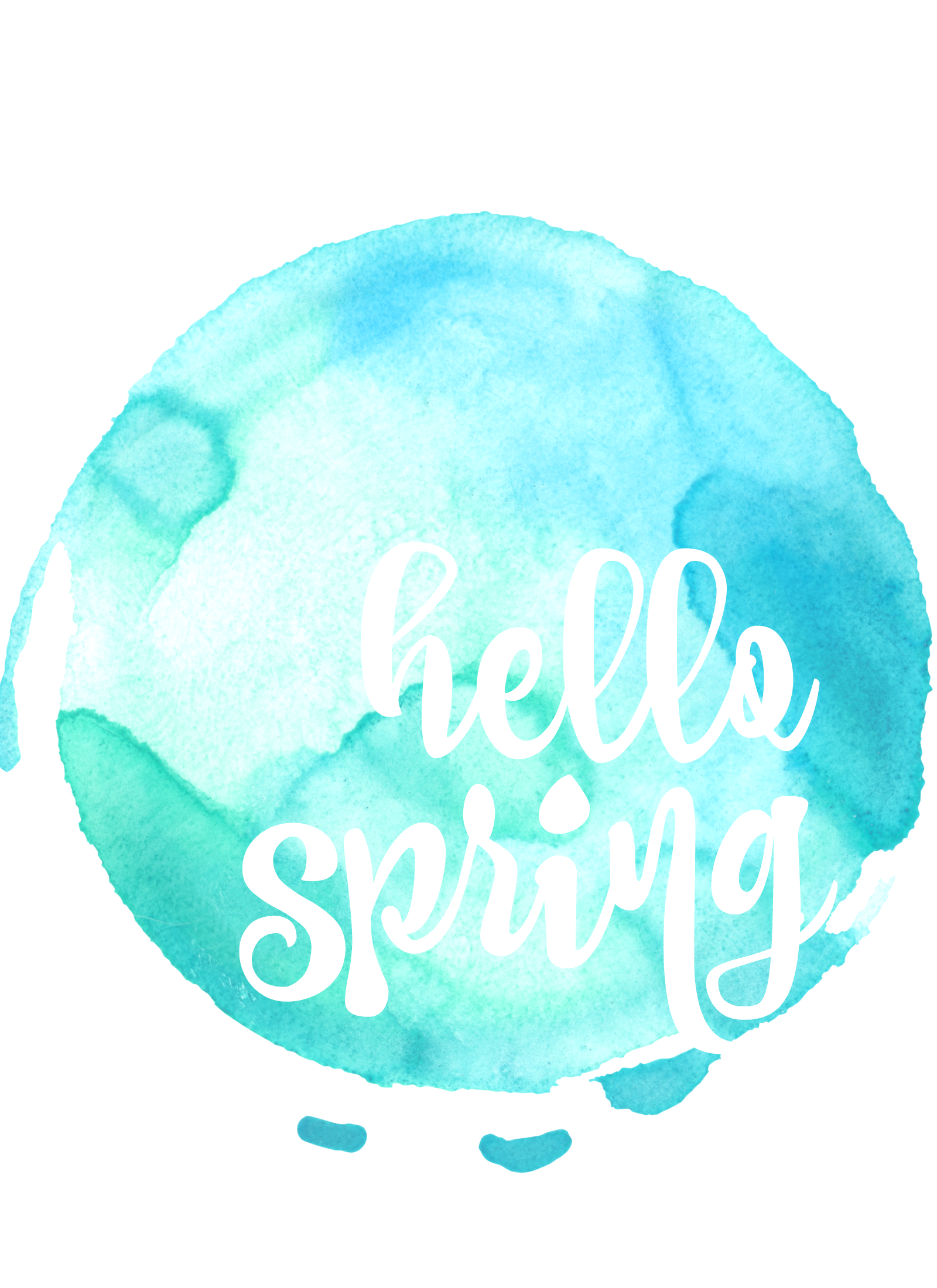 Free printables color blue -  Hello Spring Free Printable Art With Watercolour Backgrounds In 10 Colours