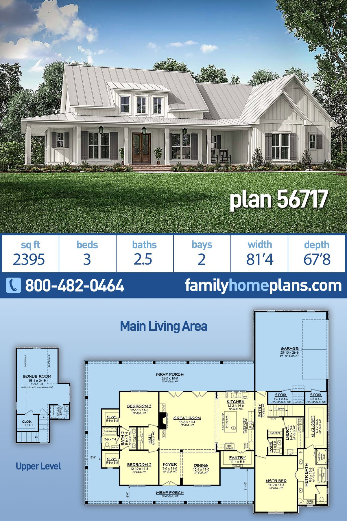 Farmhouse Style House Plan 56717 With 3 Bed 3 Bath 2 Car Garage In 2020 Farmhouse Style House Modern Farmhouse Plans House Plans Farmhouse
