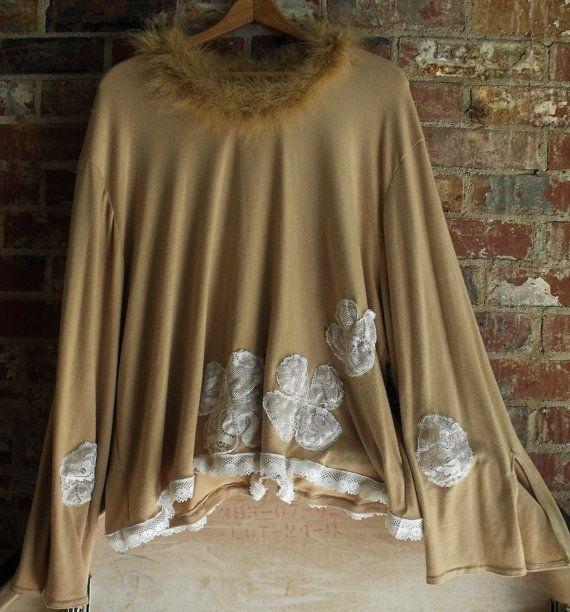 3 X túnica / rayón Spandex-encajes plumas Deco Top por SheerFab